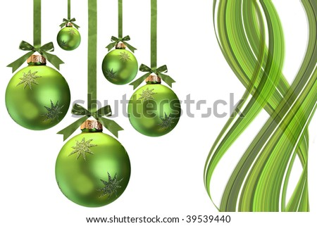 Green Christmas ornaments, studio isolated. - stock photo