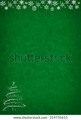 Green Christmas pattern background with snowflakes, decorations, christmas tree and copy space - stock photo