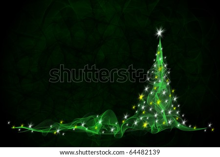 green christmas tree background - stock photo