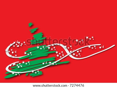 Green Christmas tree over a red background. Some white stars are surrounding it.
