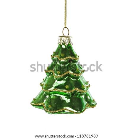 Green christmas tree toy on white background - stock photo