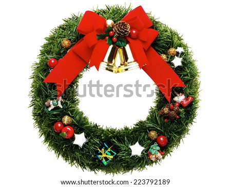 green christmas wreath with decorations - stock photo