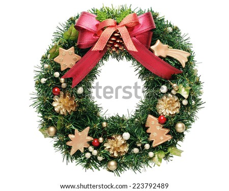 green christmas wreath with golden bow - stock photo