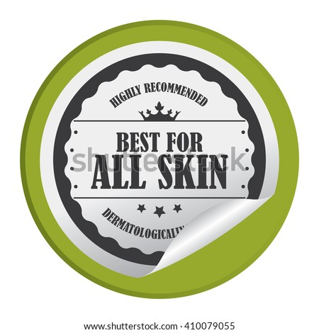 Green Circle Best For All Skin Highly Recommended Dermatologically Tested - Product Label, Campaign Promotion Infographics Flat Icon, Peeling Sticker, Sign Isolated on White Background  - stock photo