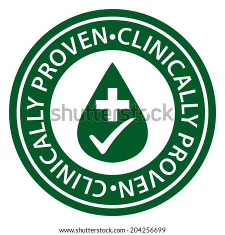 Green Circle Clinically Proven Icon, Sticker or Label Isolated on White Background  - stock photo