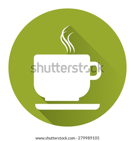 Green Circle Coffee Cup or Coffee Shop Long Shadow Style Icon, Label, Sticker, Sign or Banner Isolated on White Background - stock photo
