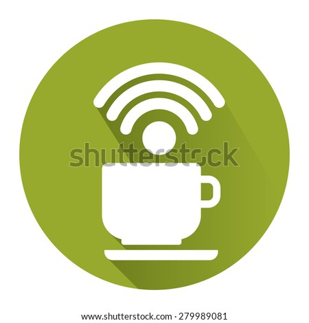 Green Circle Coffee Shop, Coffee Cup With Wifi Flat Long Shadow Style Icon, Label, Sticker, Sign or Banner Isolated on White Background - stock photo