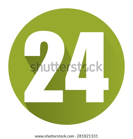 Green Circle 24, 24HR, 24HRS, 24 Hours Service, 24 Hours Open Long Shadow Style Icon, Label, Sticker, Sign or Banner Isolated on White Background - stock photo