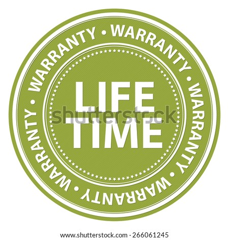 Green Circle Lifetime Warranty Badge, Label, Sticker, Banner, Sign or Icon Isolated on White Background - stock photo