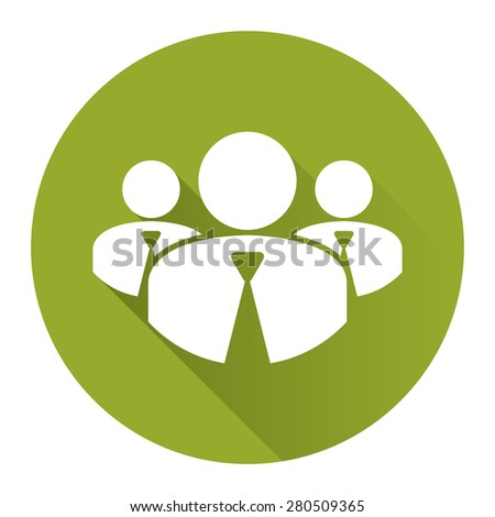 Green Circle Member, Group of Businessman Long Shadow Style Icon, Label, Sticker, Sign or Banner Isolated on White Background