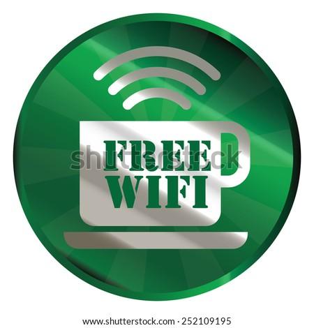 green circle metallic free wifi sticker, icon, label isolated on white - stock photo