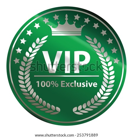 green circle metallic vip 100% exclusive badge, sticker, banner, sign, icon, label isolated on white - stock photo