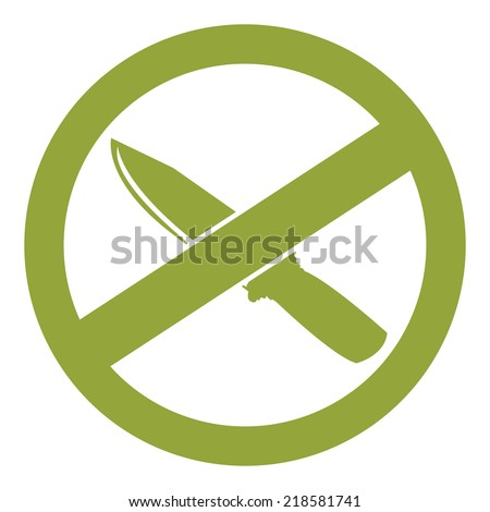 Green Circle No Knife or No Weapon Sign, Icon or Label Isolate on White Background  - stock photo