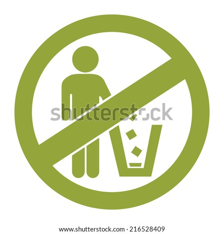 Green Circle No Littering Prohibited Sign, Icon or Label Isolate on White Background  - stock photo