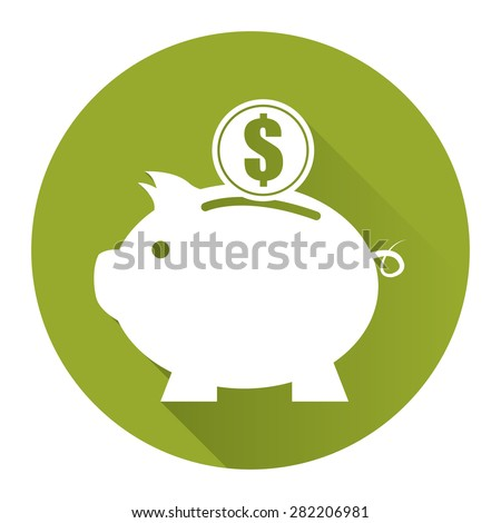 Green Circle Piggy Bank With Dollar Currency Coin Flat Long Shadow Style Icon, Label, Sticker, Sign or Banner Isolated on White Background - stock photo