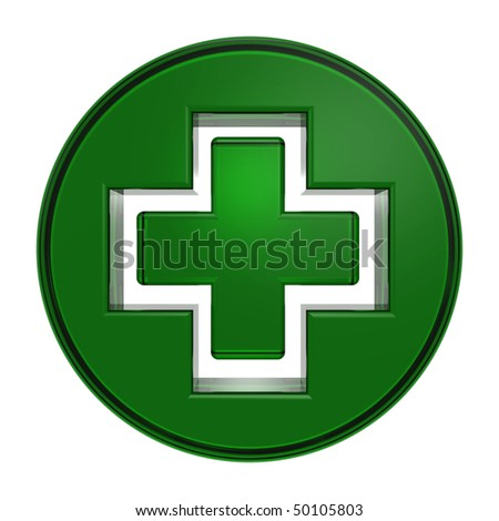 Green circle with cross isolated on white - stock photo