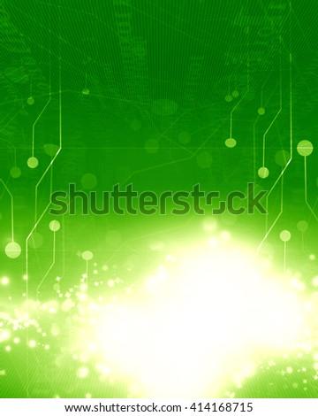 Green circuit board - stock photo