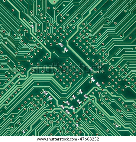 Green circuit board electronic square photo - texture - stock photo