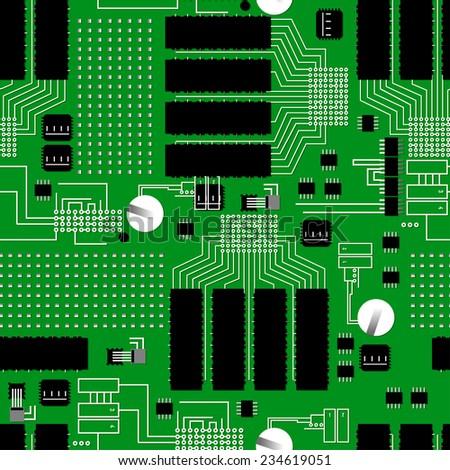Green circuit board seamless pattern . - stock photo
