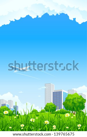 Green city background with flowers grass and clouds - stock photo