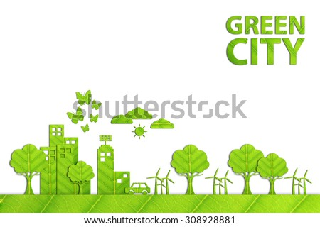 Green city - Ecology concept made from green leaf. - stock photo