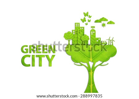 Green city - Ecology concept made from green leaves. - stock photo