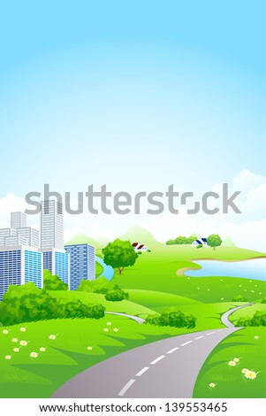 Green City Landscape with road lake and flowers - stock photo