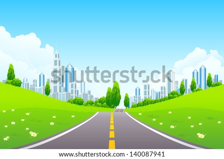 Green City Landscape with Trees Flowers Clouds and Road - stock photo