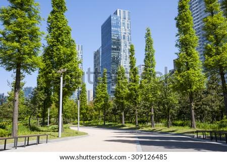 Green city park - stock photo