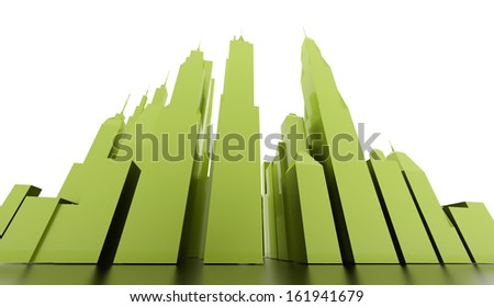 Green city scene rendered on white background - stock photo