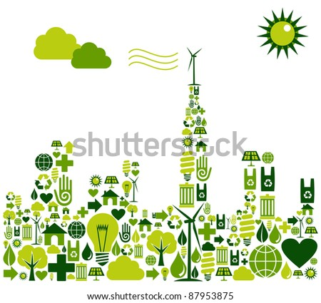 Green city shape made with environmental icons set. - stock photo
