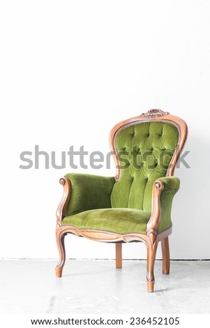 Wonderful Green Classical Style Armchair Sofa Couch In Vintage Room