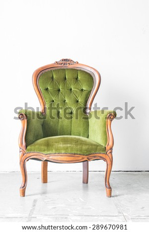 Green classical style Armchair sofa couch in vintage room