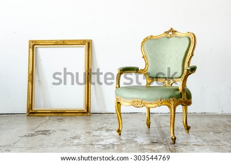 green classical style Armchair sofa couch with frame in vintage room