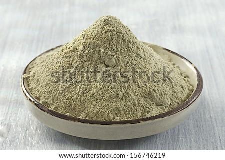 Green clay powder - stock photo