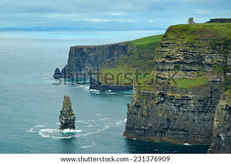 Green cliffs of Moher and Atlantic ocean coast in County Clare, Ireland