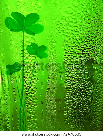 Green clover beer background st.Patrick's day holiday celebration, lucky conce - stock photo