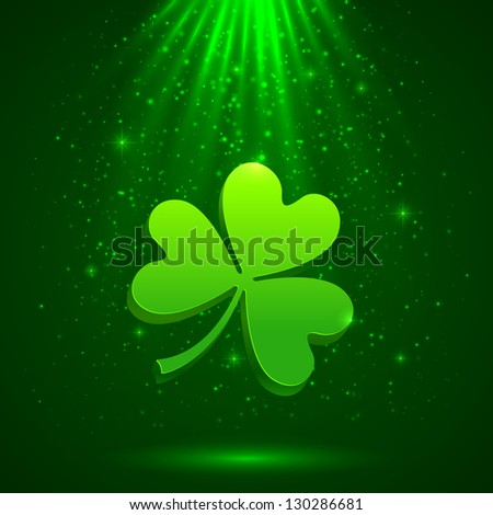 Green clover in the magic light background. Raster illustration. Vector version also exist. - stock photo