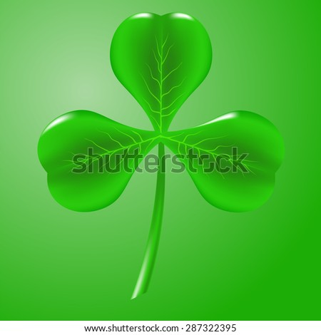 Green Clover Isolated on Green Background. Symbol of  St. Patricks Day. Irish Shamrock Icon.