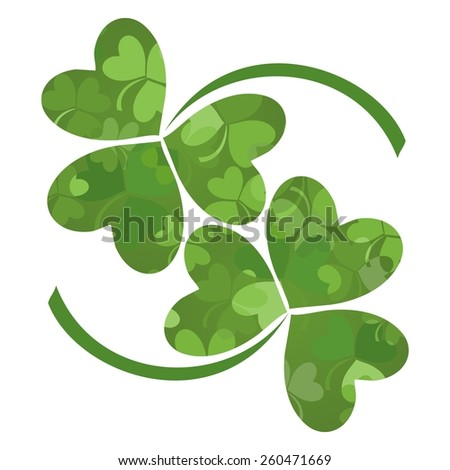 Green Clover isolated on White background. Raster Version - stock photo