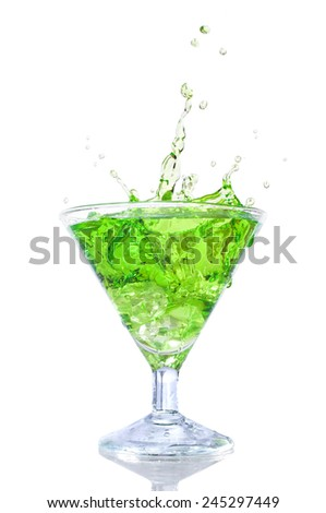 green cocktail isolated on white background - stock photo