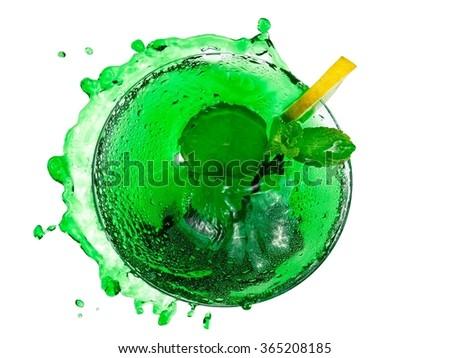 Green cocktail splash, top view - stock photo