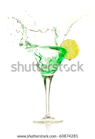green cocktail splashing - stock photo