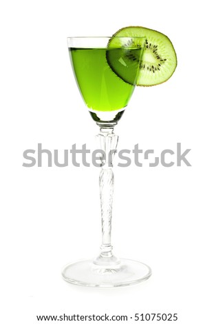 green cocktail with a slice of kiwi