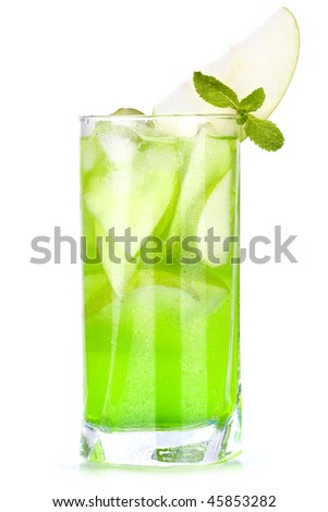 Green cocktail with apples and mint isolated on white background - stock photo