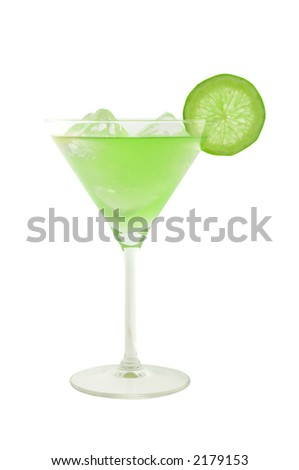 green cocktail with slice of lime and ice cubes isolated on white and clipping path included - stock photo