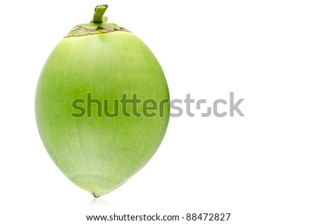 Green coconut Fruit isolated on white background. - stock photo
