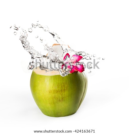 Green coconut with water splash, Isolated over white - stock photo
