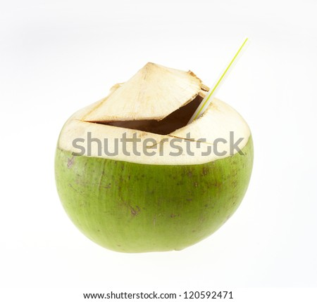 Green coconuts fruit isolated on white - stock photo