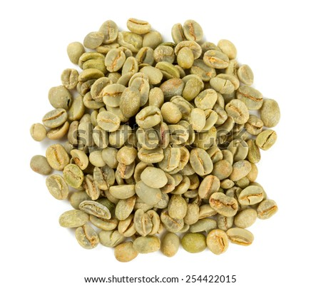 green coffee beans isolated on white background - stock photo